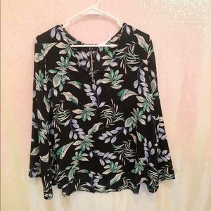 LUSH black floral long sleeve blouse
